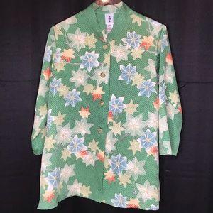 Yasuko Vintage Kimono Silk Top Mixed Media Med